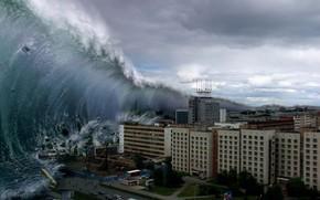 Image, en cas de catastrophe, un tsunami, une vague