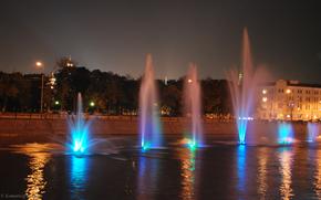москва, река, фонтаны, ночь, огни обои, фото