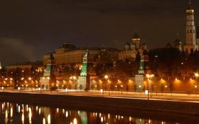 москва, кремль, набережная, башня, ночь, огни, река обои, фото