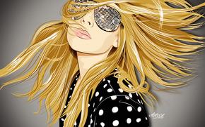 стиль, арт, графика, вектор, блондинка, девушка, лицо, очки, волосы, обои обои, фото