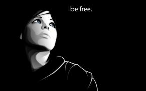 девушка, взгляд, лицо, фраза, be free, вектор обои, фото