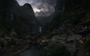 горы, город, облака, река, мост, восток, китай, огни обои, фото