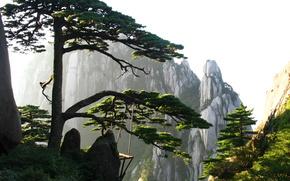 природа,  Китай,  гора,  воздух,  небо,  сосна,  скала обои, фото