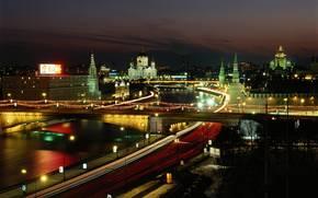 москва, ночь, огни, москва-река, храм обои, фото