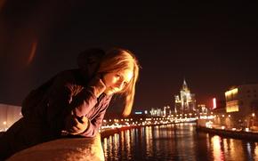 город,  девушка,  ночь,  москва,  река,  настроение,  прогулка, девушка, девушки, красивая обои, фото