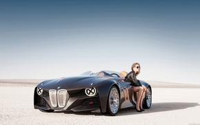 Бмв,  девушка,  сидит,  пустыня, автомобили, машины, авто обои, фото