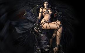 Image, la fille, le serpent, noir, cheveux
