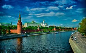 город, Москва, река, кремль обои, фото