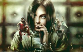 девушка,  ангел,  дьявол обои, фото