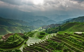 Рисовые террасы,  Китай,  зелень,  горы,  небо,  лучи солнца,  поселение обои, фото