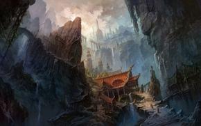 горы,  китай,  здания,  скалы,  мост,  водопад,  лестница обои, фото