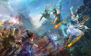китай,  битва,  музыка,  девушка,  красавица,  менестрель,  воины,  мечи,  доспехи,  огонь,  нефрит,  небо,  горы обои, фото