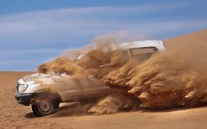 пустыня, песок, машина обои, фото