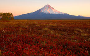 камчатка, вулкан, закат обои, фото
