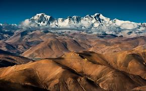 китай, тибет, чо ойю, горы, облака обои, фото