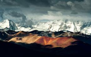 китай, горы, снег, облака, тени, свет обои, фото