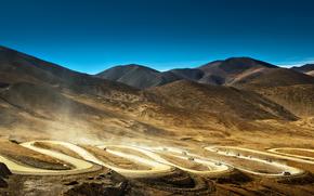 китай, тибет, горы, дорога, машины, пыль обои, фото