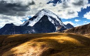 Китай, Тибет, горы, облака, небо обои, фото
