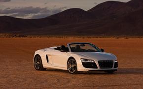 машина, пустыня, небо, облака, Audi обои, фото