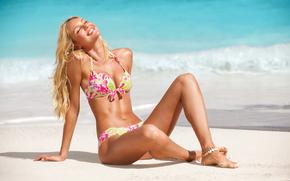 пляж, бикини, девушка обои, фото