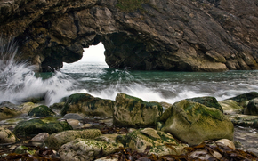 coast, rock, stones, surf
