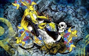 Девушка, длинные волосы, закрытые глаза, желтые волосы, наушники, вода, рыба, череп, вектор, цветы обои, фото