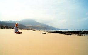 девушка, море, пляж, настроение обои, фото