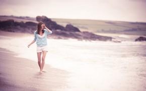 девушка, пляж, обои девушки обои, фото