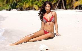 девушка, модель, пляж, песок обои, фото