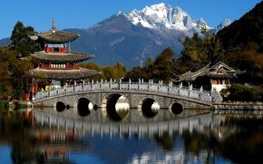 Китай, горы, деревья, пагода, мост, река обои, фото