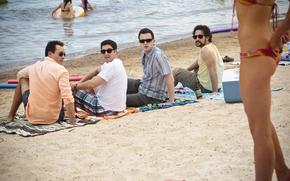 Американский пирог, Все в сборе, пляж, девушка, Шонн Уильям Скотт, Джейсон Биггз, Крис Клейн, Эдди Кэй Томас обои, фото
