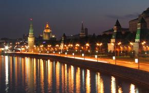 город, города, ночь, река, освещение, Москва обои, фото