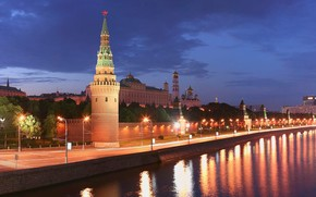 москва, кремль, река, башня обои, фото