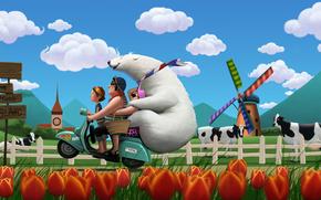 рисунок, семья, отдых, приключения, мотороллер, медведь, ферма, тюльпаны, мельница, горы, облака, коровы обои, фото
