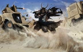 арт, пустыня, песок, самурай, машина, солдаты, меч, катана обои, фото
