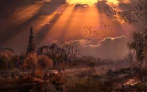 Новый Союз, Москва, Россия, река, кремль, вечер, закат обои, фото