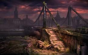 Новый Союз, Москва, мост, война, река, вечер обои, фото