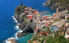 Вернацца, Италия, Средиземноморье, Лигурийское море обои, фото