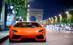 Ламборгини, Ламборджини, Авентадор, город, Париж, ночь, боке, дорога, Lamborghini обои, фото