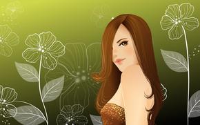 вектор, девушка, цветы обои, фото