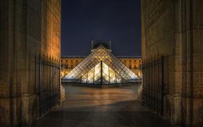 Париж, Франция, Лувр, ночь обои, фото