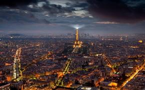 города, город, париж, ночь, эйфелева, башня обои, фото
