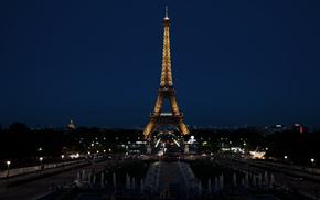 Париж, Франция, Эйфелева башня, город, ночь, огни обои, фото
