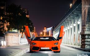 Ламборгини, Ламборджини, Авентадор, город, ночь, огни, Франция, Париж, Lamborghini обои, фото
