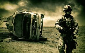 Война, пустыня, солдат, машина обои, фото