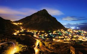 китай, город, поселок, гора, вечер, огни обои, фото