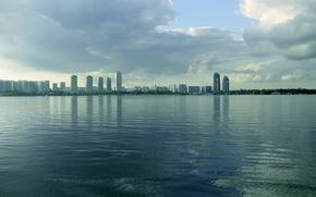 река, Москва река, город, строгино, солнце, небо, облака, красивая природа, пейзаж, солнечный свет обои, фото