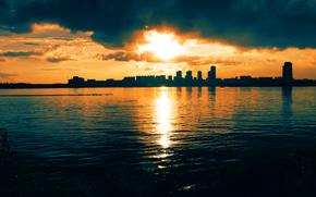 река, Москва река, город, Строгино, солнце, небо, облака, красивая природа, пейзаж, солнечный свет, закат обои, фото