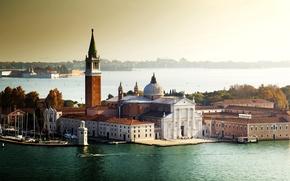 Венеция, Италия, город, вода, архитектура, море, лодки, здания, деревья обои, фото
