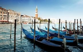 Венеция, Италия, канал, море, вода, гондолы, пристань обои, фото